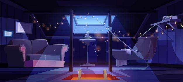 Acogedora habitación en el ático con hamaca y sofá en el interior de dibujos animados de vector de noche de buhardilla