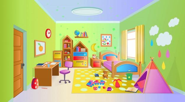 Acogedora habitación infantil con juguetes. ilustración de vector de estilo de dibujos animados.