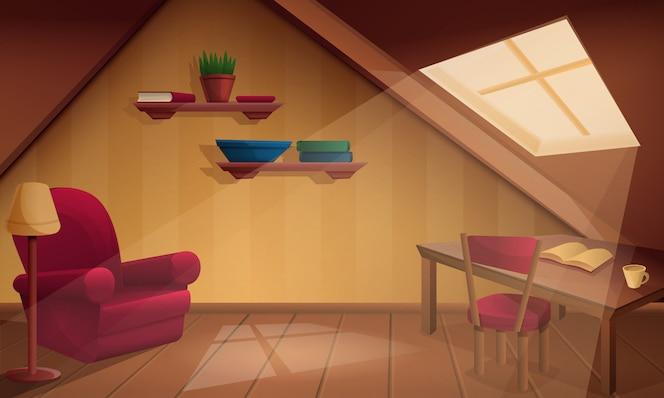 Acogedora habitación de madera del ático de dibujos animados, ilustración