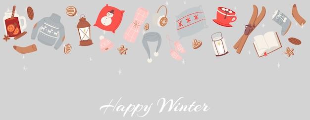 Acogedores objetos de invierno para vacaciones ilustración.