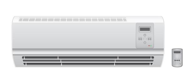 Acondicionador de aire acondicionado con icono de vector remoto