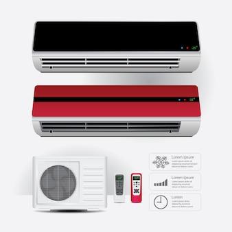 Acondicionador de aire realista y control remoto con ilustración de vector de símbolos de aire frío