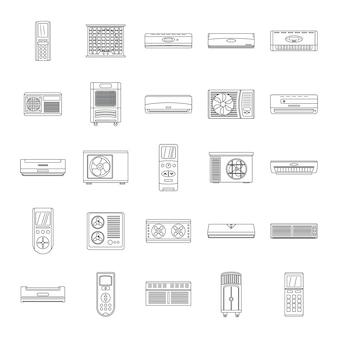 Acondicionador conjunto de iconos de filtro de aire