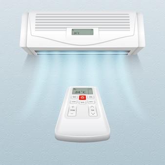 Acondicionador con corrientes de aire fresco. control de clima en casa y oficina ilustración vectorial