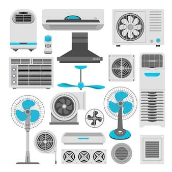 Acondicionadores de aire y ventiladores o humidificadores purificadores de aire.