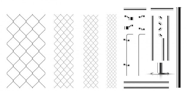 Acoplamientos metálicos realistas y partes de la valla.