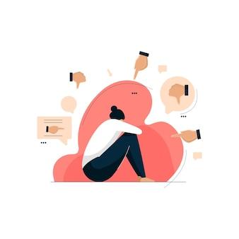 Acoso cibernético, mujer deprimida sentada en el suelo, efectos secundarios de las redes sociales