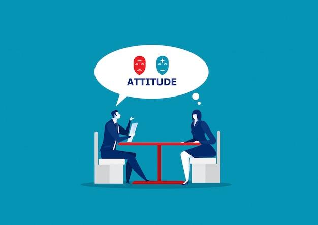 Actitud de prueba de jefe para entrevista de trabajo, gente de negocios, candidato para un trabajo.