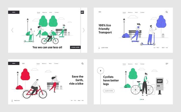 Actividad al aire libre, conjunto de páginas de destino del sitio web de transporte ecológico