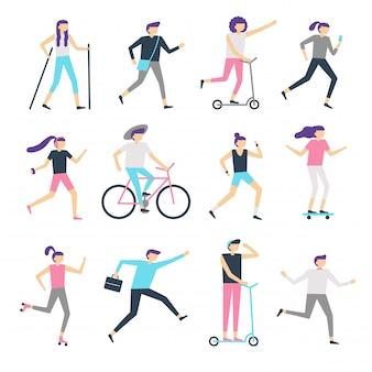 Actividad al aire libre de personas. comunidad sana, hombre caminando y mujer trotando. ejecución de adolescentes, patinaje y ciclismo conjunto de vectores para niños