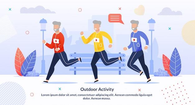 Actividad al aire libre para personas mayores infografía de motivación