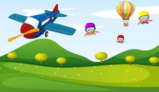 Actividad de avión y cielo.