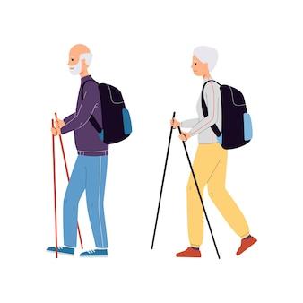 Actividad de caminata escandinava de hombre y mujer senior