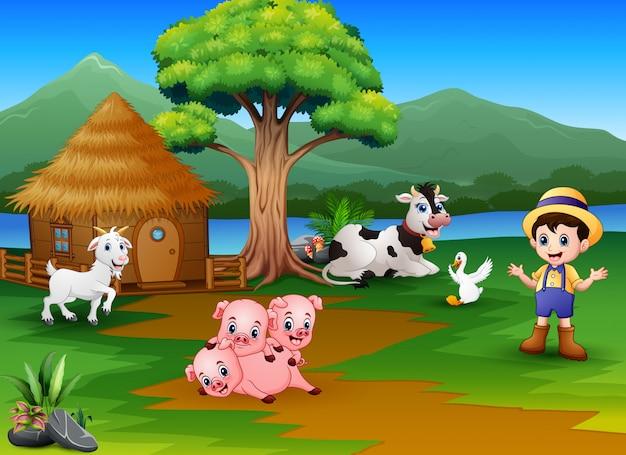 Actividad campesina sobre la hermosa naturaleza con granja de animales.