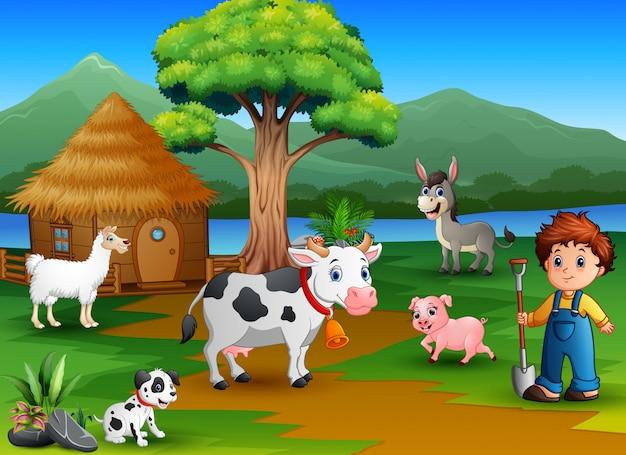 Actividad campesina sobre la naturaleza con granja de animales.
