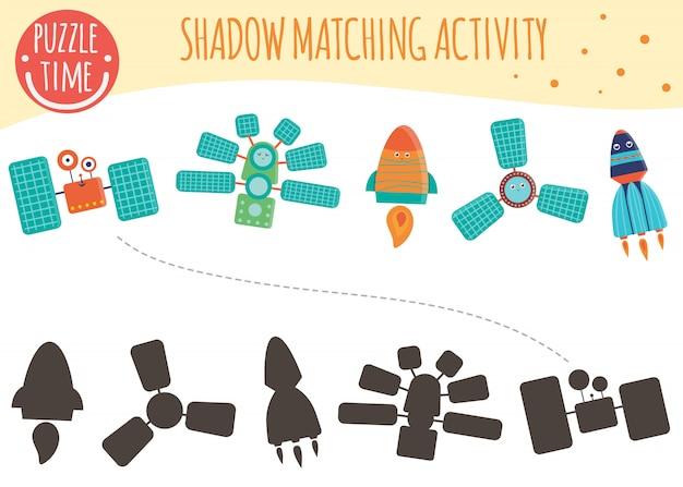 Actividad de coincidencia de sombras para niños. técnicas espaciales. lindos personajes sonrientes divertidos