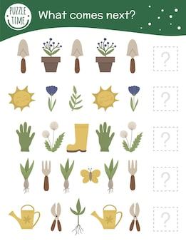 Actividad de combinación de jardín para niños en edad preescolar con símbolos de jardinería