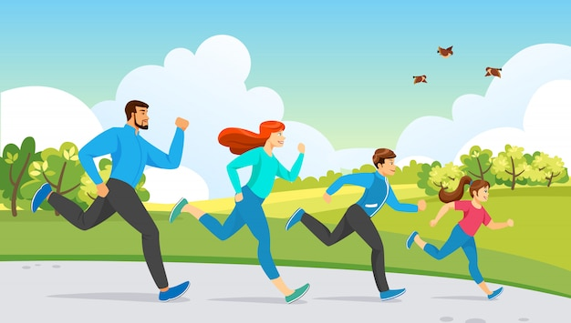 Actividad de deporte familiar feliz. ejercicio corriente