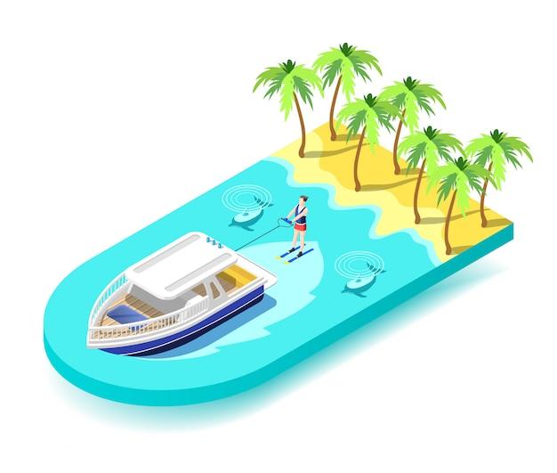 Actividad deportiva acuática en mar tropical