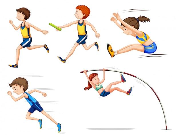 Actividad deportiva personas en blanco