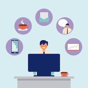 Actividad diaria computadora hombre trabajo de oficina