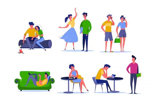 Actividad diaria de parejas jóvenes.