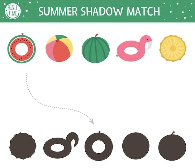 Actividad de emparejamiento de sombras de verano para niños
