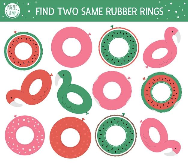 Actividad de emparejamiento de verano para niños en edad preescolar con diferentes círculos de goma