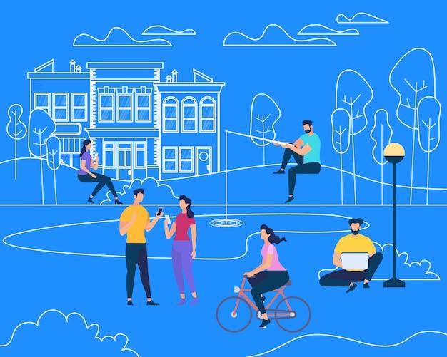Actividad física de verano al aire libre charactres de personas