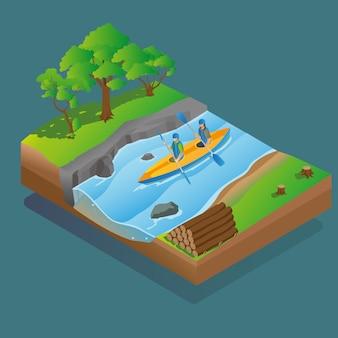 Actividad de kayak isométrica