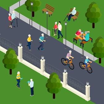 Actividad de ocio de los pensionistas en el juego de mesa de deporte al aire libre con amigos caminando en el parque isométrico ilustración vectorial
