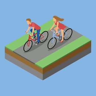 Actividad de parque isométrica en bicicleta