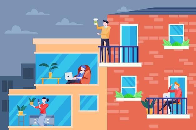 Actividad de personas en la ilustración del balcón