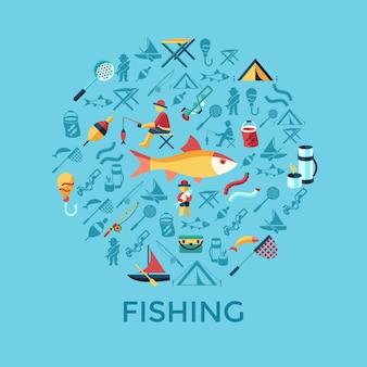 La actividad de pesca vector digital establece iconos de colección infografía