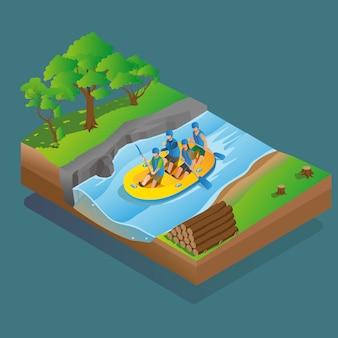 Actividad de rafting isométrico