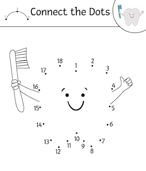 Actividad de vector punto a punto con lindo diente kawaii con cepillo de dientes. conecta el juego de los puntos. carácter divertido del cuidado de los dientes. clipart de contorno con temas dentales para niños. dibujo de higiene bucal para colorear