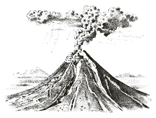 Actividad volcánica con magma, humo antes de la erupción y lava o desastre natural. para viajes, aventuras.