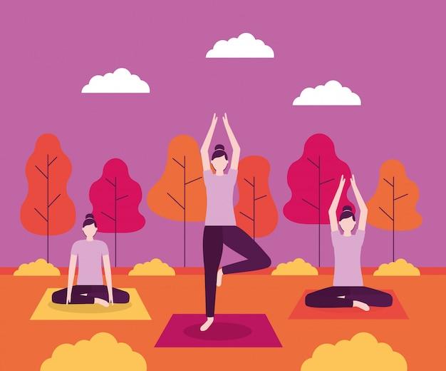 Actividad de yoga de personas