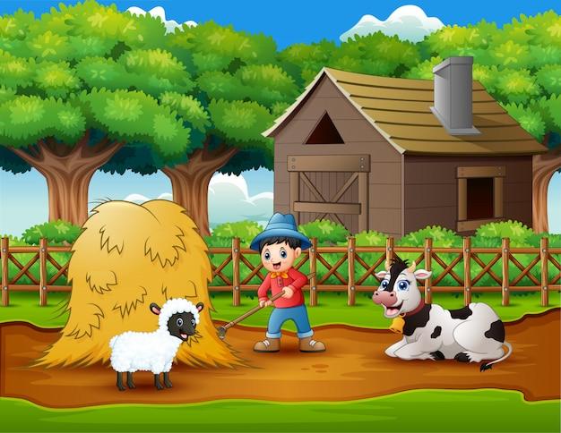 Actividades agrícolas en fincas con animales.