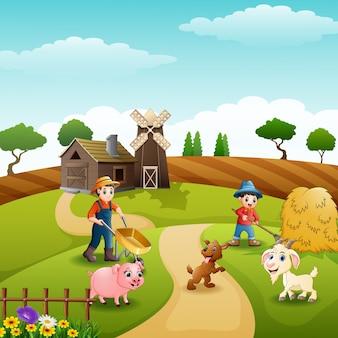 Actividades agrícolas en granjas con animales
