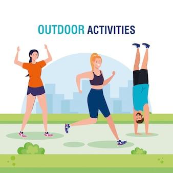 Actividades al aire libre, grupo de jóvenes practicando deporte