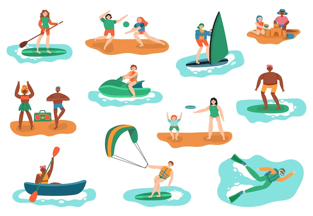 Actividades al aire libre en el mar. deportes acuáticos y de playa, buceo en el océano, surf y jugar a la pelota, conjunto de ilustración de recreación de vacaciones de personas. actividad deportiva océano, mar activo ocio y natación