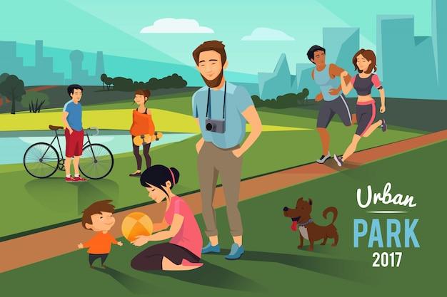 Actividades al aire libre en parque urbano.