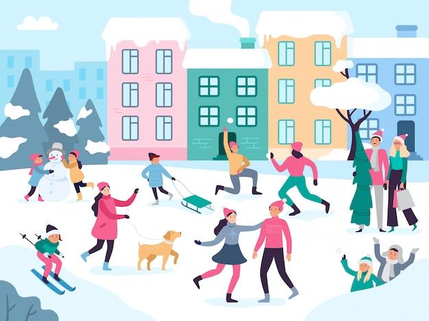 Actividades de la ciudad de invierno. nieve al aire libre, gente caminando, vacaciones familiares, diversión y eventos urbanos, ilustración vectorial