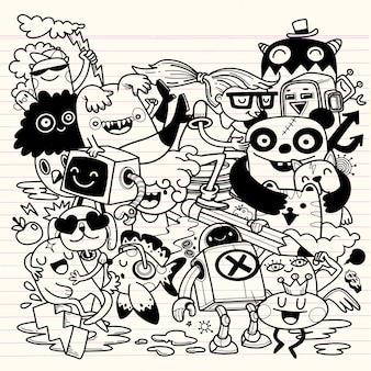 Actividades de creatividad divertido doodle conjunto de dibujos animados. ilustración dibujada a mano.