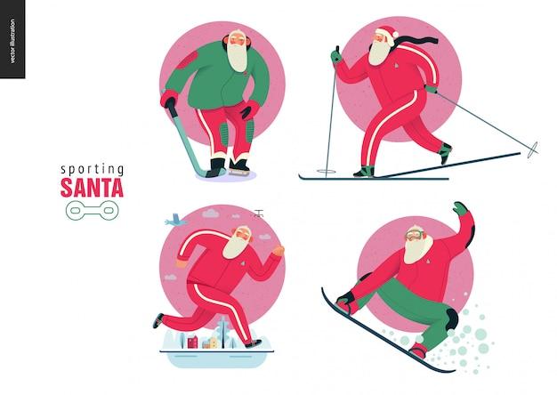 Actividades deportivas al aire libre de santa en invierno
