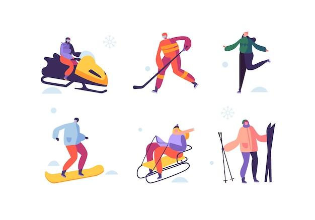 Actividades deportivas de invierno con personajes. personas al aire libre esquiador, snowboarder, patinador sobre hielo, hockey.