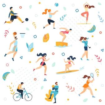 Actividades deportivas de verano de patrones sin fisuras.