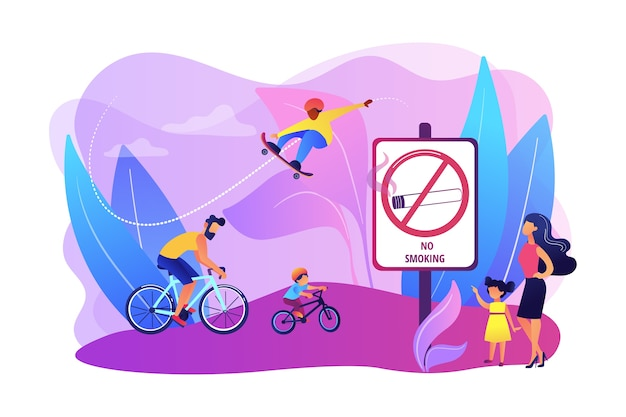 Actividades de fin de semana en el parque. padre montando bicicletas con su hijo. pasatiempo activo y saludable. zona libre de humo, zona de no fumadores, concepto de instalación libre de tabaco. ilustración aislada violeta vibrante brillante