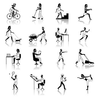 Actividades físicas iconos negro